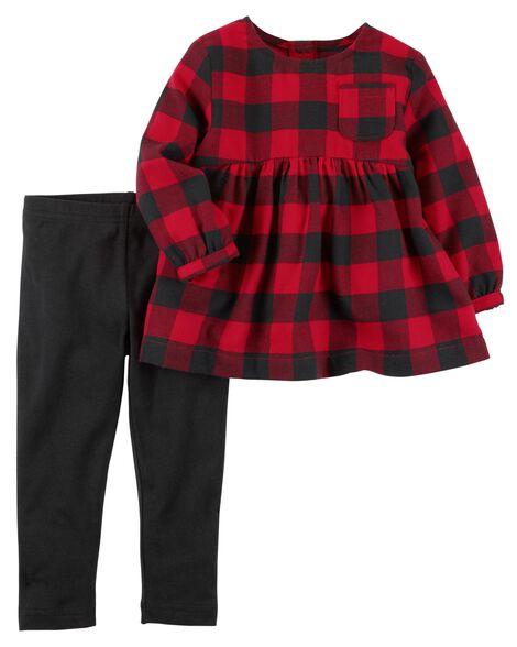 fe8316b25 2-Piece Flannel Top   Stretch Legging Set