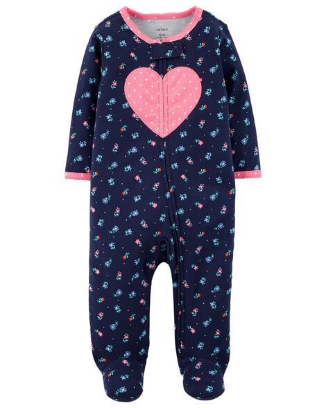 Heart Cotton Zip Up Sleep & Play by Carter's
