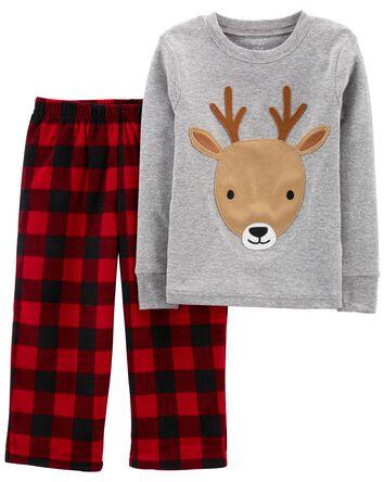 2-Piece Reindeer Cotton & Fleece PJ...