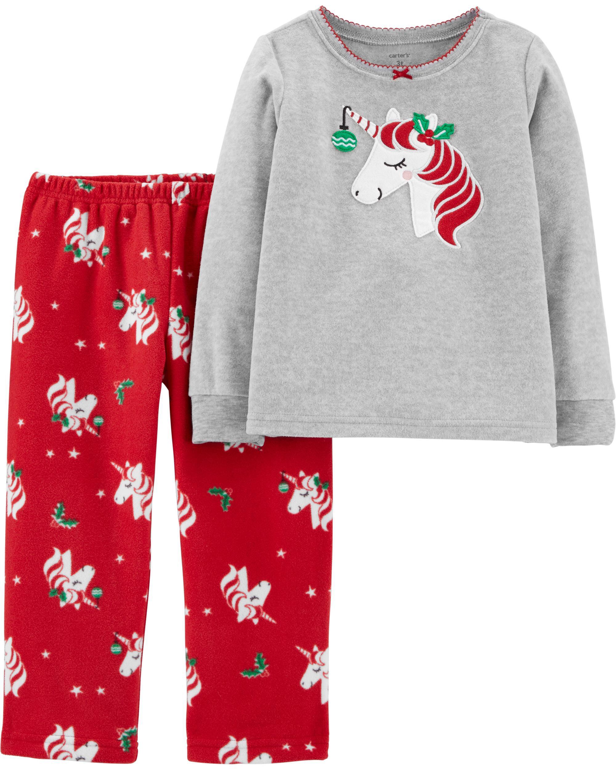 2-Piece Christmas Unicorn Fleece PJs