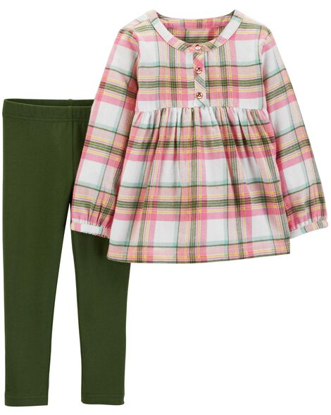 f52d868aa 2-Piece Plaid Flannel   Legging Set
