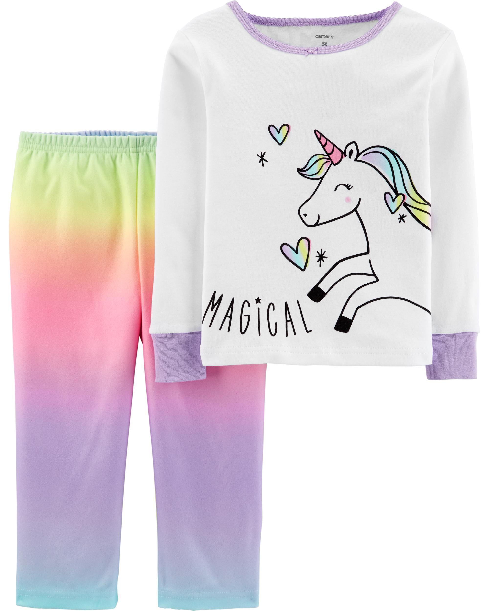 *CLEARANCE* 2-Piece Rainbow Unicorn Snug Fit Cotton & Fleece PJs