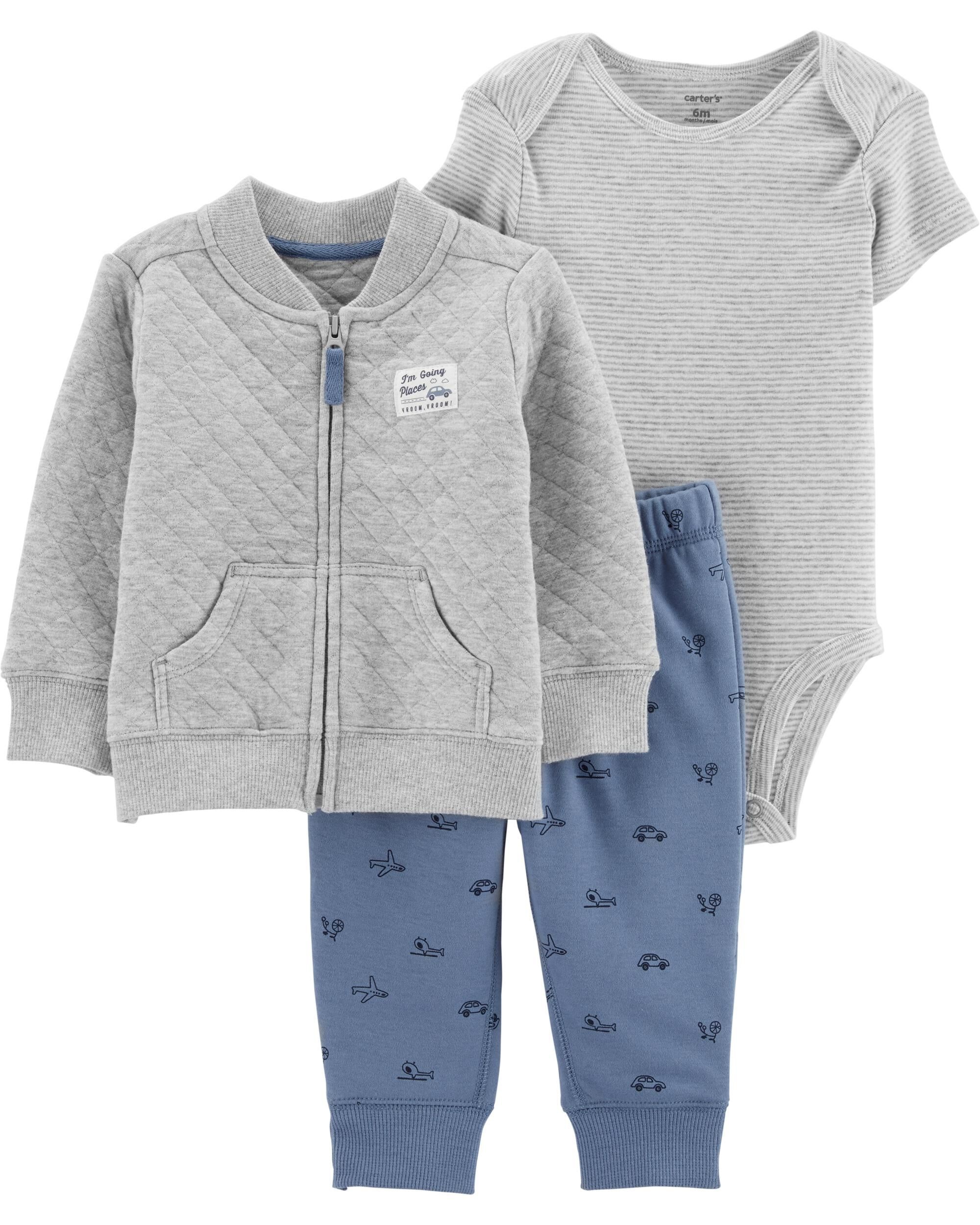 3-Piece Quilted Heather Cardigan Set