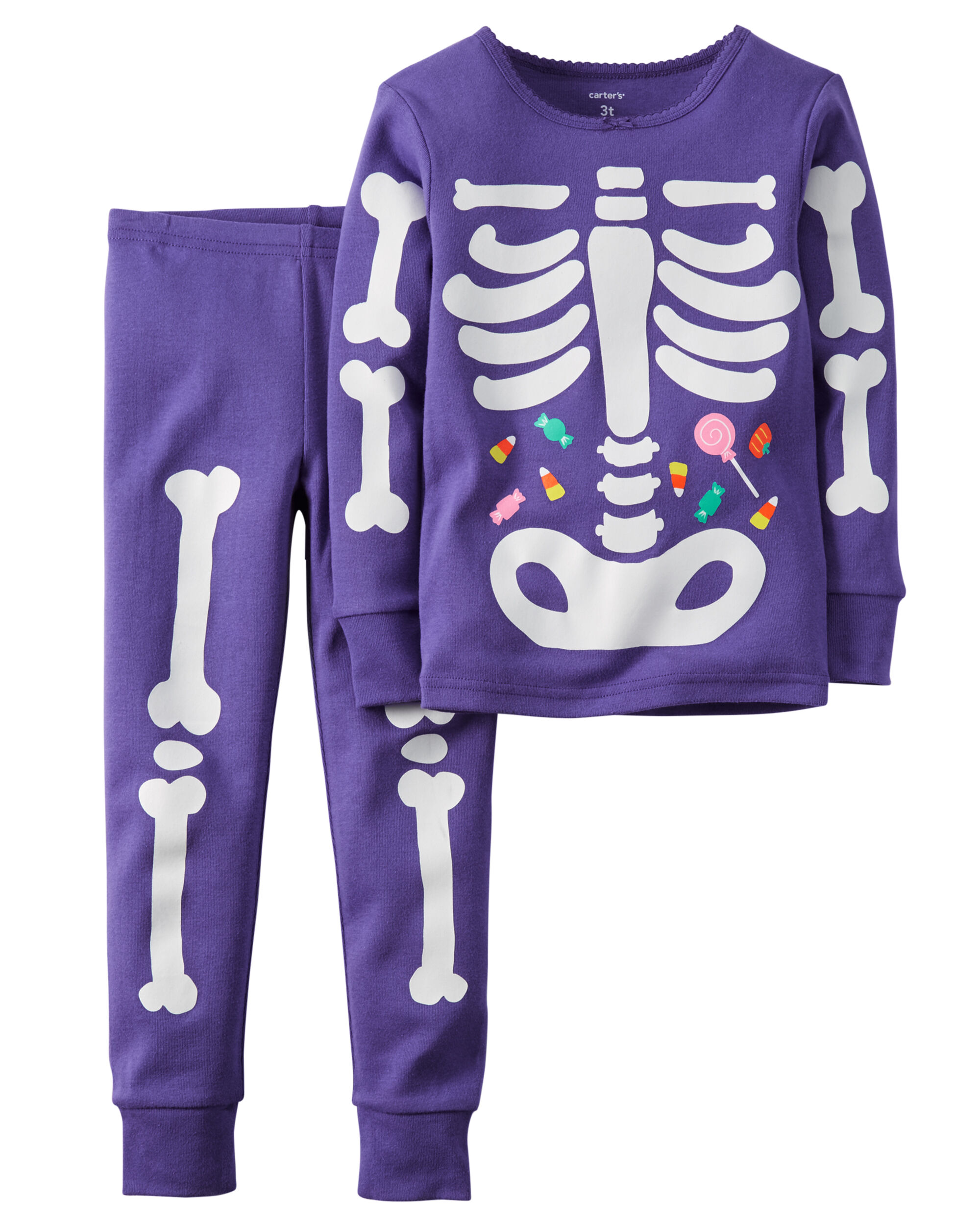 2 piece snug fit cotton glow in the dark halloween pjs loading zoom