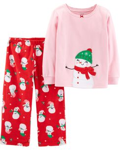 2 piece christmas snowman fleece pjs
