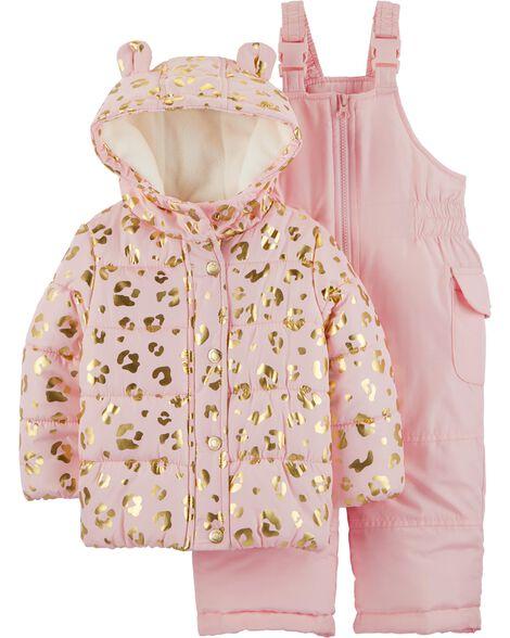 68a971217661 2-Piece Leopard Snowsuit Set