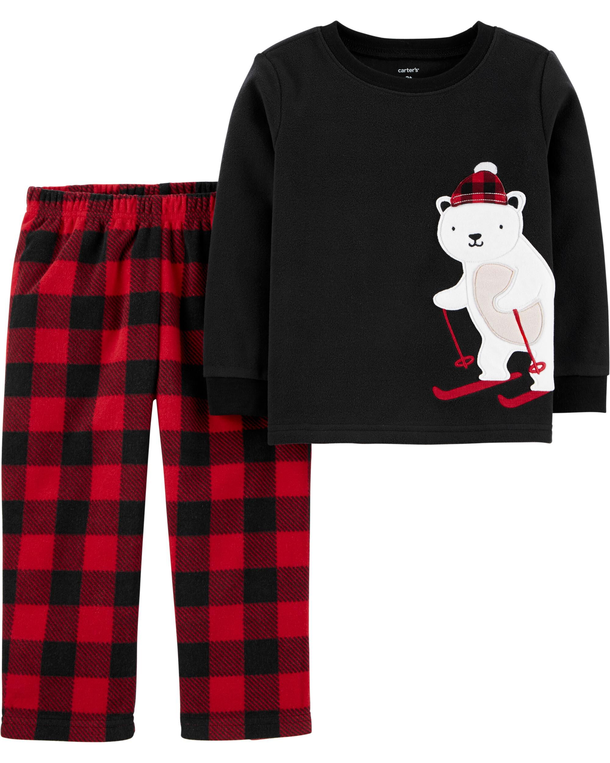 Boys 2 Piece Plaid Fleece Pj Set Size 6