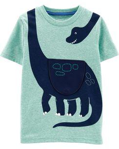 4d75b570c Dinosaur Peek-A-Boo Flap Snow Yarn Tee