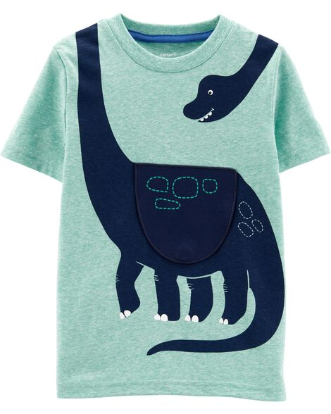 Dinosaur Peek-A-Boo Flap Snow Yarn Tee