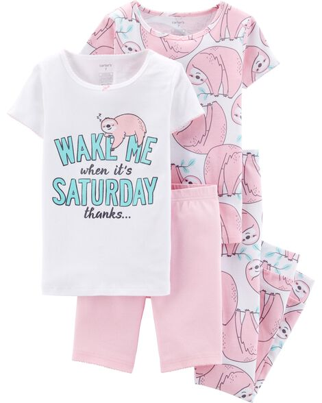 4460d855185a 4-Piece Sloth Snug Fit Cotton PJs