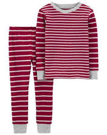 2-Piece Striped Snug Fit Cotton PJs