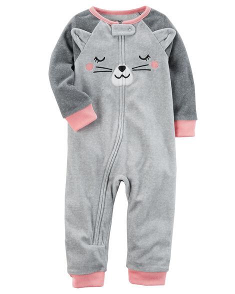 4cb305168 1-Piece Cat Footless Fleece PJs