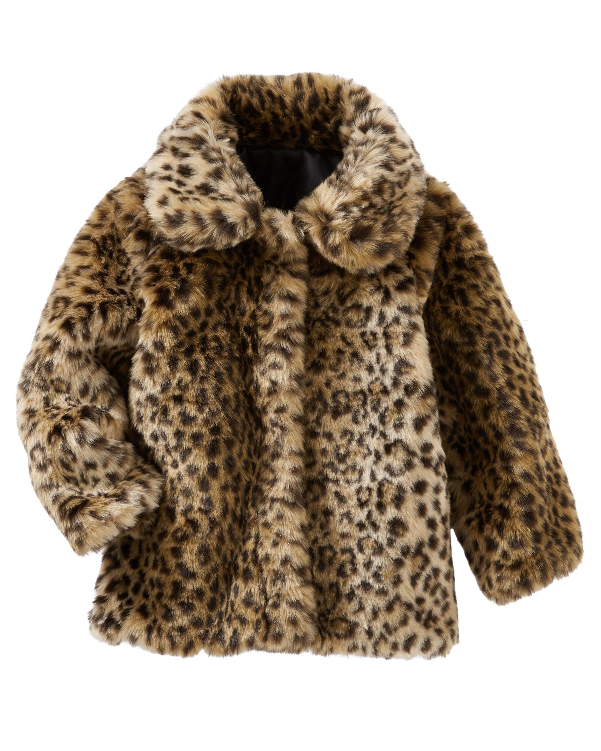 Baby Girl OshKosh Faux Fur Leopard Print Midweight Jacket