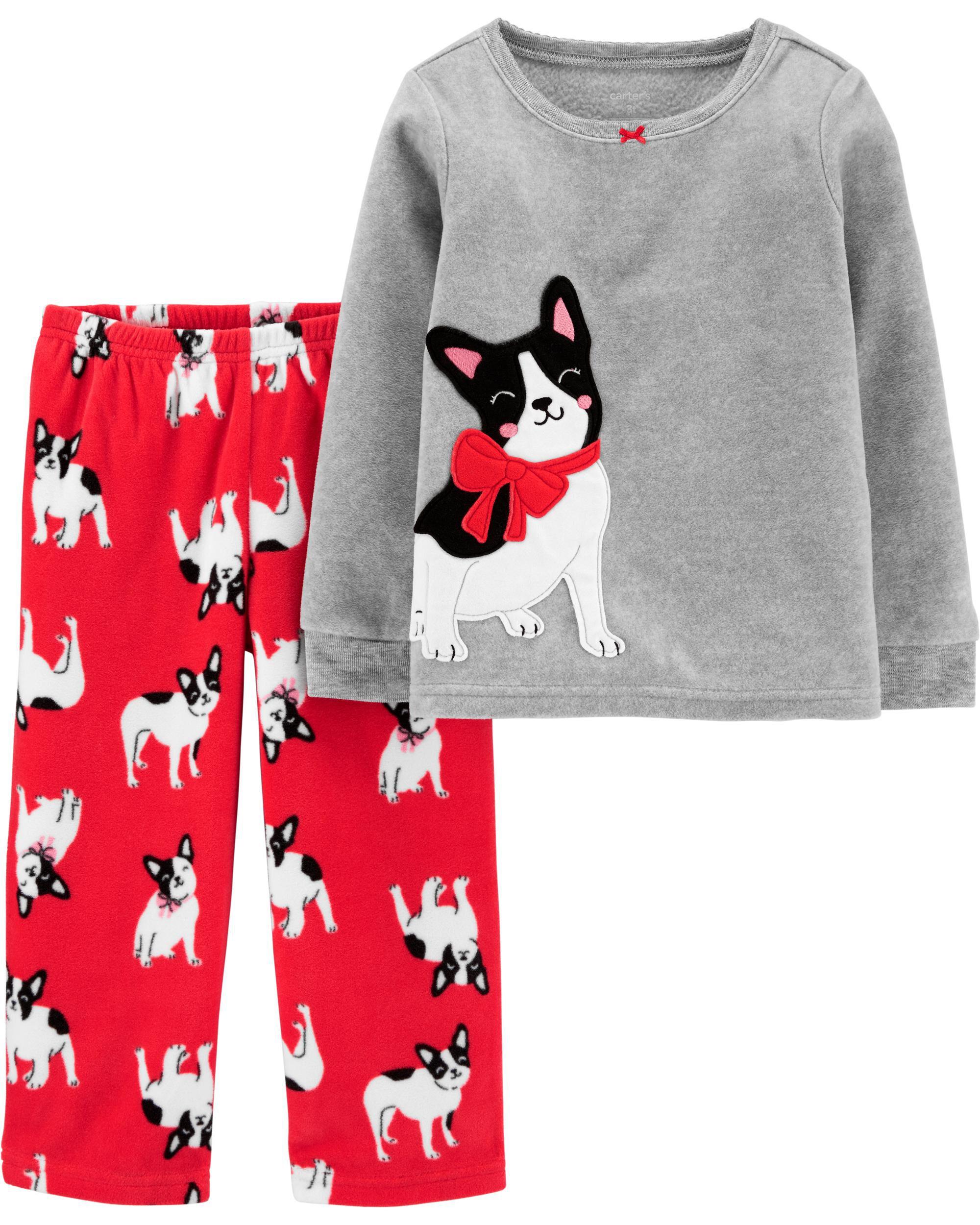 2-Piece French Bulldog Snug Fit Cotton & Fleece PJs