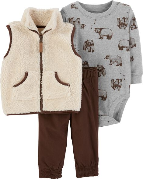7841758a3 3-Piece Sherpa Vest Set