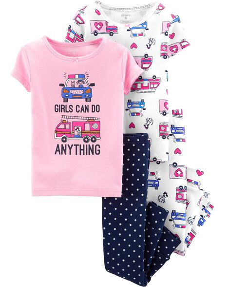 4-Piece Girls Can Do Anything Snug Fit Cotton PJs