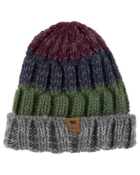 Images. Marled Yarn Striped Knit Hat a228ddb01bb0