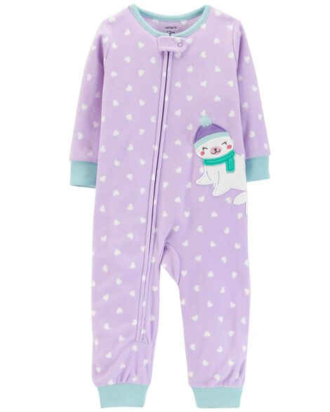6dfa5824a 1-Piece Heart Fleece Footless PJs | Carters.com