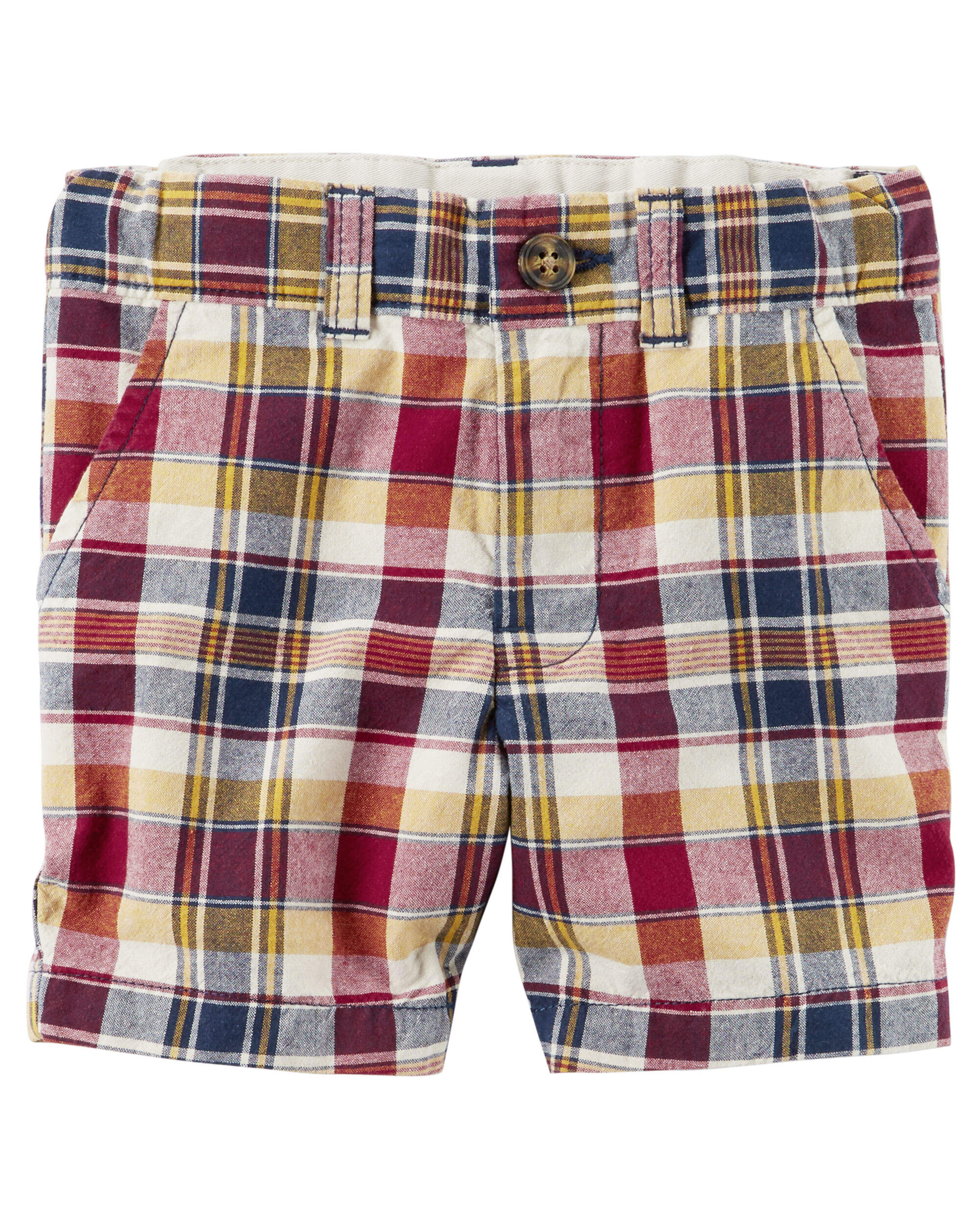 Carters Toddler Boys Plaid Flat-Front Twill Shorts Blue