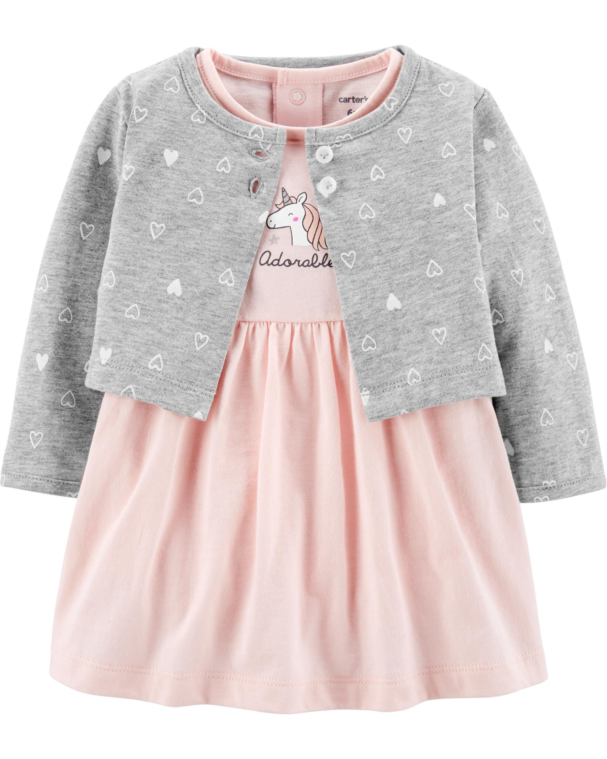 2-Piece Unicorn Bodysuit Dress & Cardigan Set