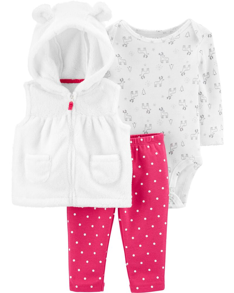 Carter/'s Baby Girl 3-Piece Pink White Fuzzy Little Jacket Set Sizes 9M 12M,18m