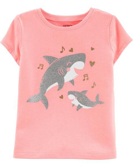 Neon Glitter Baby Shark Jersey Tee