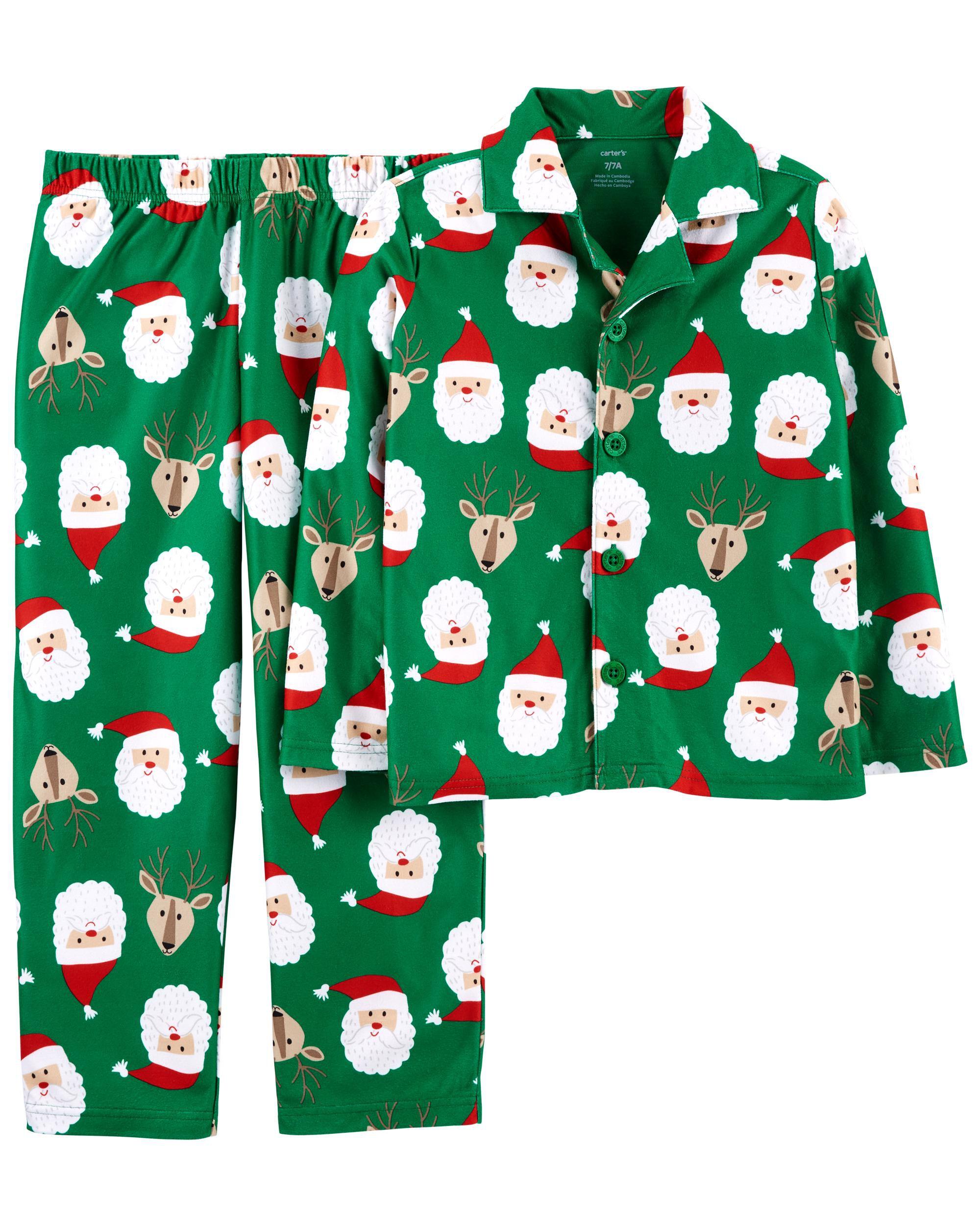 2-Piece Christmas Coat-Style Fleece PJs