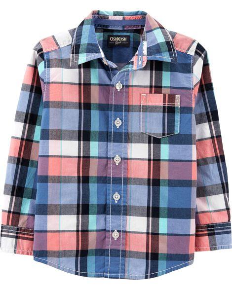 898c3701a Toddler Boy Plaid Button-Front Shirt