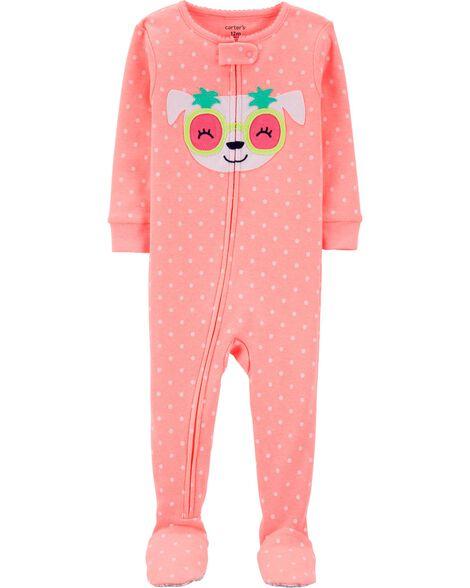 061b2bc31835 1-Piece Neon Dog Snug Fit Cotton Footie PJs