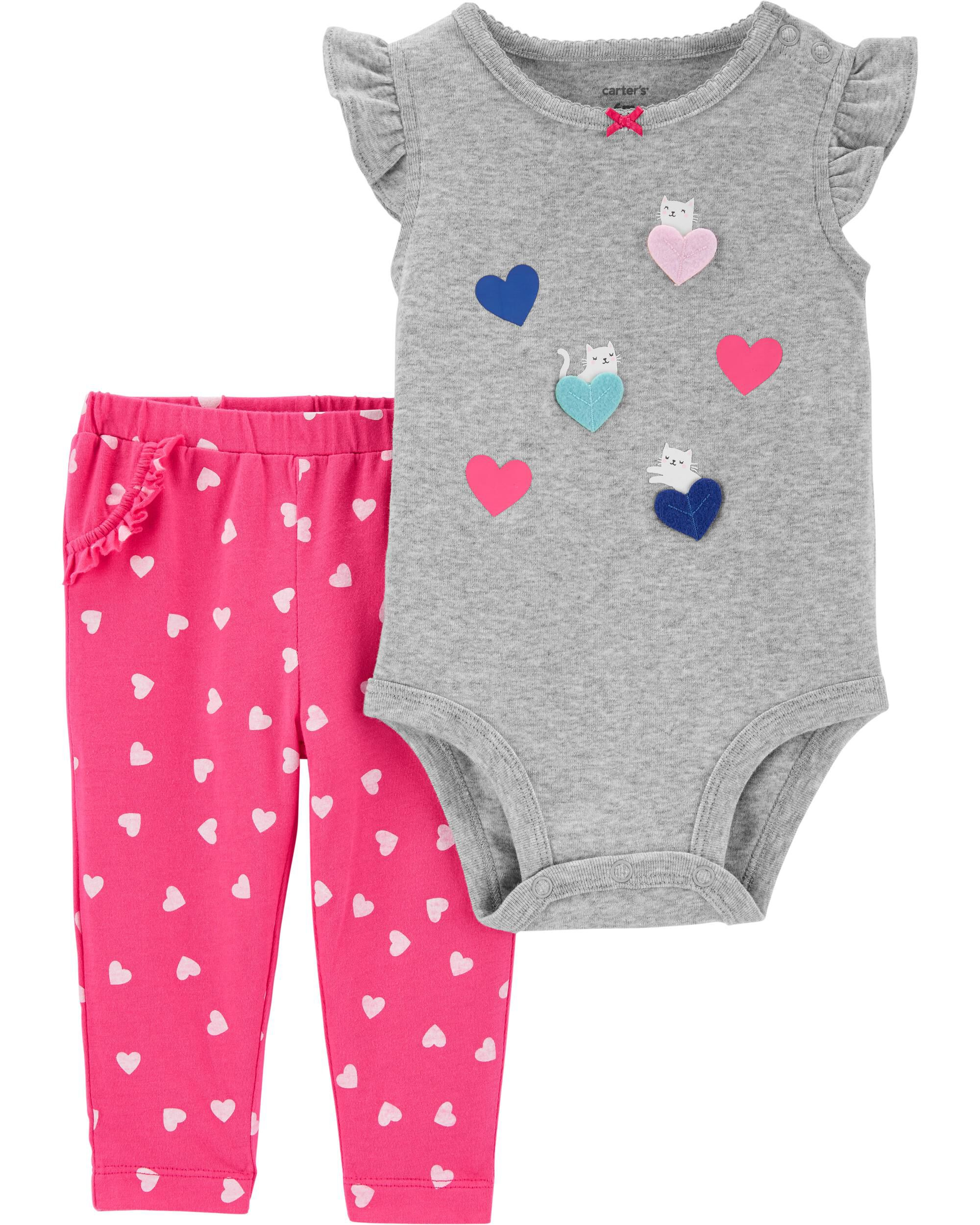 2-Piece Heart Bodysuit Pant Set