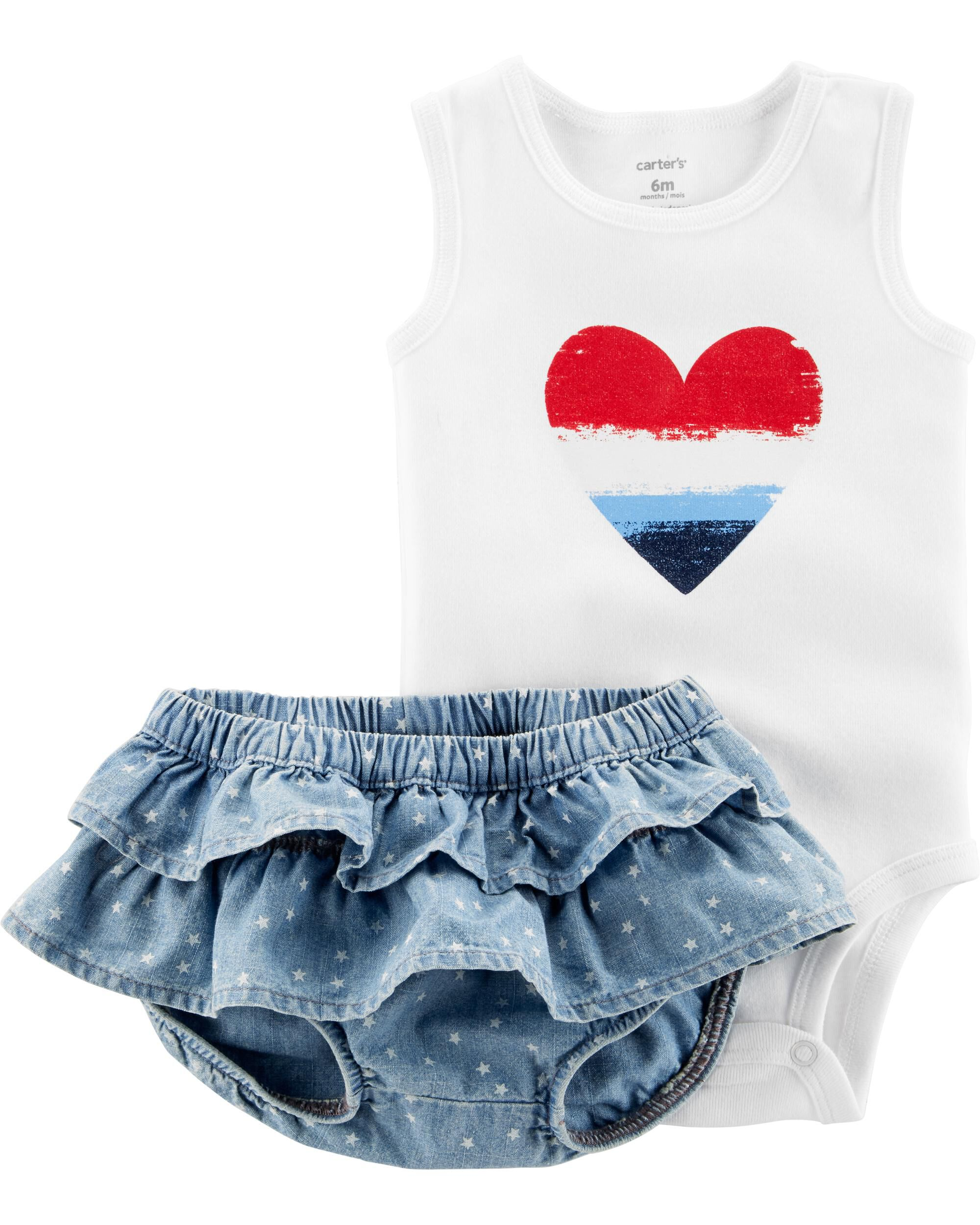 38bf90126 2-Piece Fourth Of July Bodysuit & Diaper Cover Set. Loading zoom