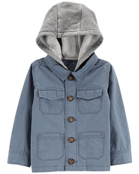 4bcd67321 Hooded Button-Front Jacket