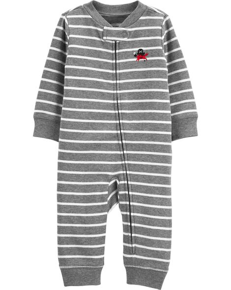 Striped Zip-Up Cotton Footless Sleep & Play