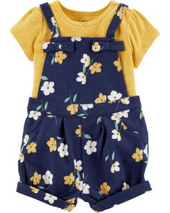 e2d92890533b Dresses. 2-Piece Polka Dot Tee & Floral Shortalls Set