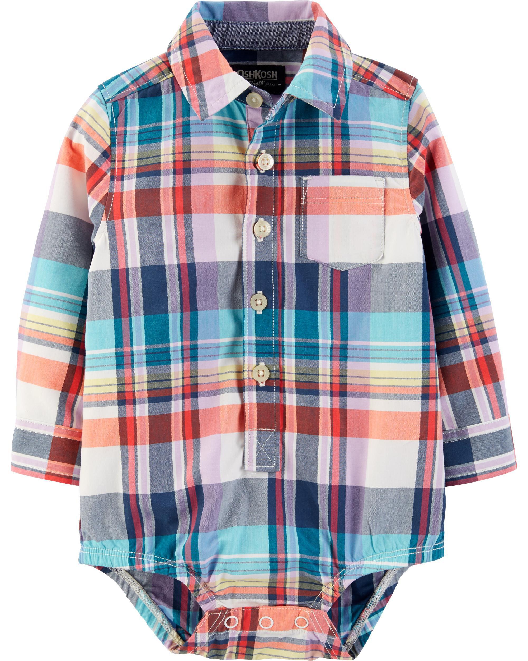 *CLEARANCE* Plaid Button-Front Bodysuit