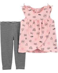 fe3452997 2-Piece Doodle Cross-Front Tank & Striped Capri Legging Set
