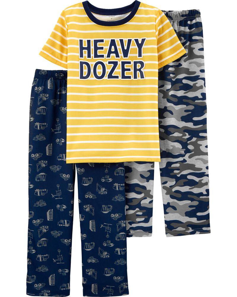 NEW CARTER/'S BABY BOYS 3 PIECE SLEEPWEAR SET YELLOW TRUCK SIZE 12M 18M 24M 2T