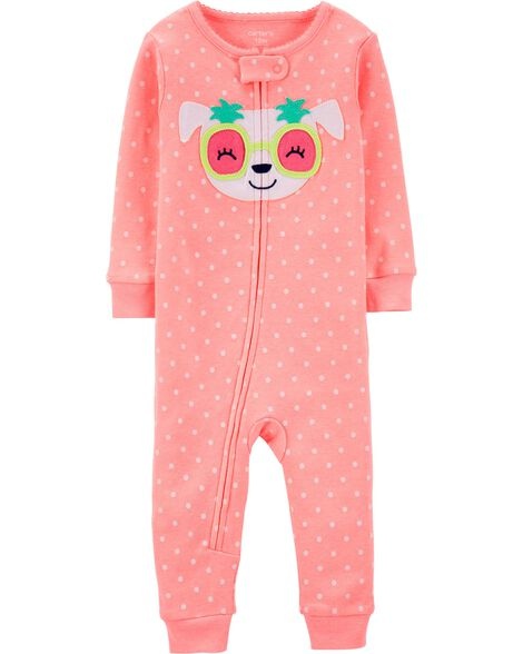 4837b3757 1-Piece Neon Dog Snug Fit Cotton Footless PJs
