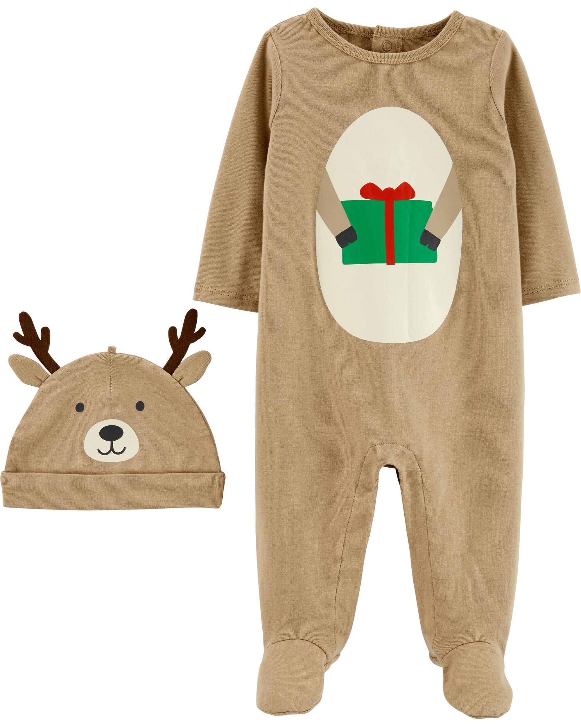 *CLEARANCE* 2-Piece Reindeer Coverall & Hat Set