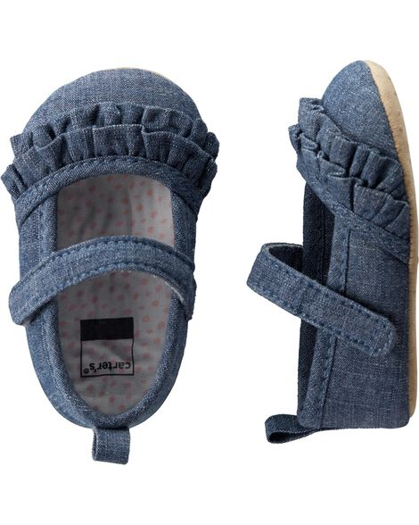 Carter's Chambray Mary Jane Baby Shoes