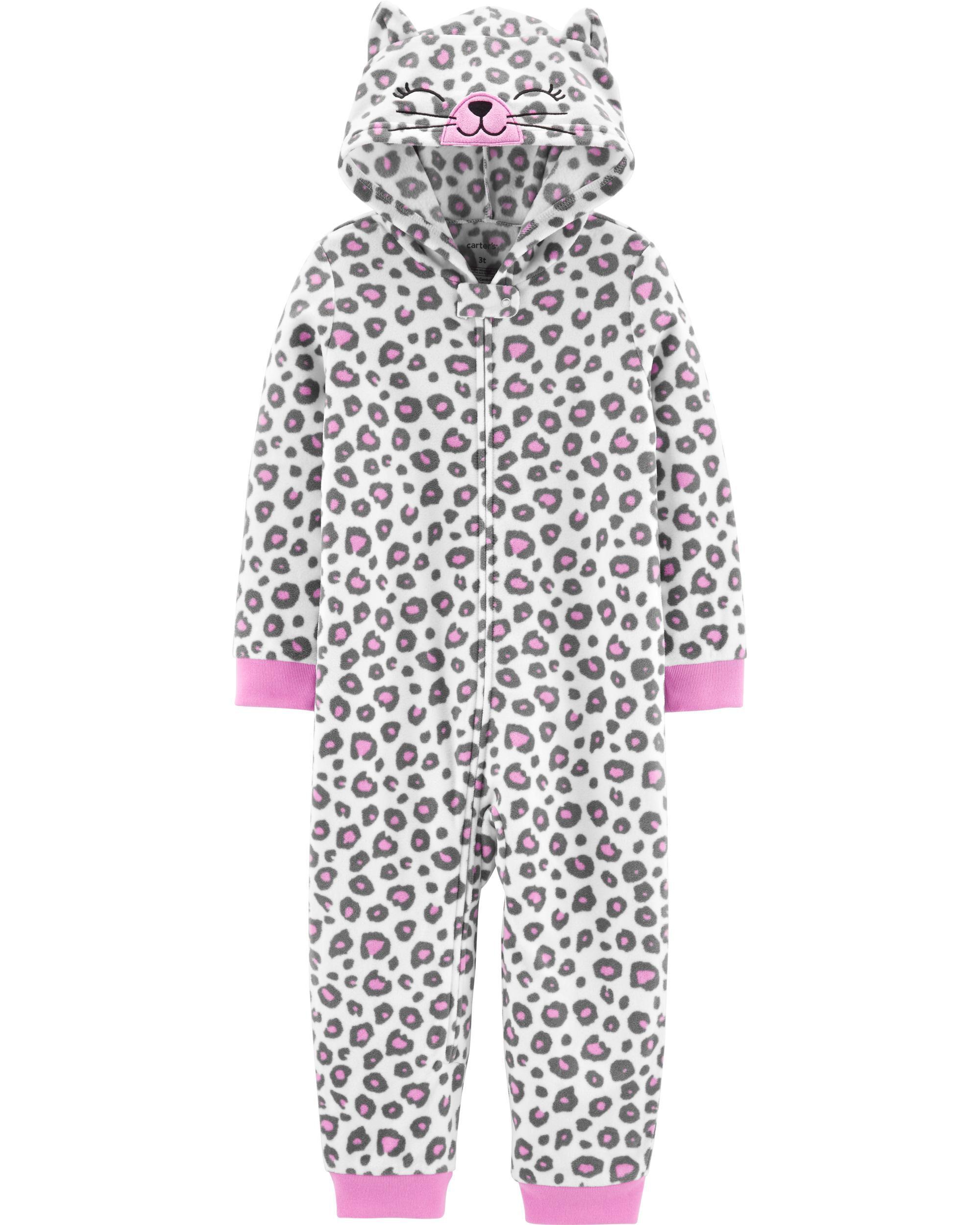 *CLEARANCE* 1-Piece Leopard Cat Hooded Fleece Footless PJs