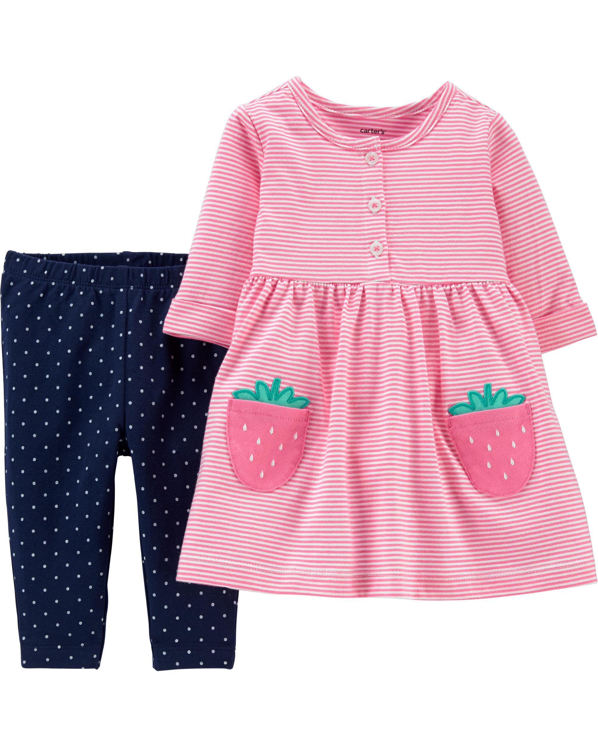 *CLEARANCE* 2-Piece Strawberry Jersey Dress & Polka Dot Legging Set
