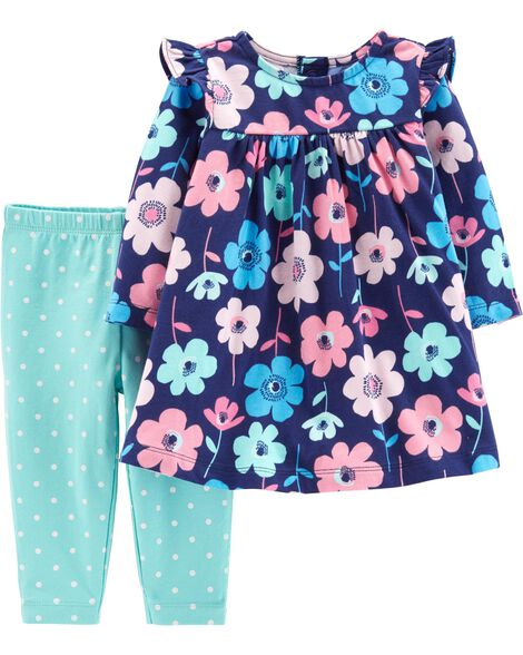 2-Piece Floral Dress & Polka Dot Legging Set