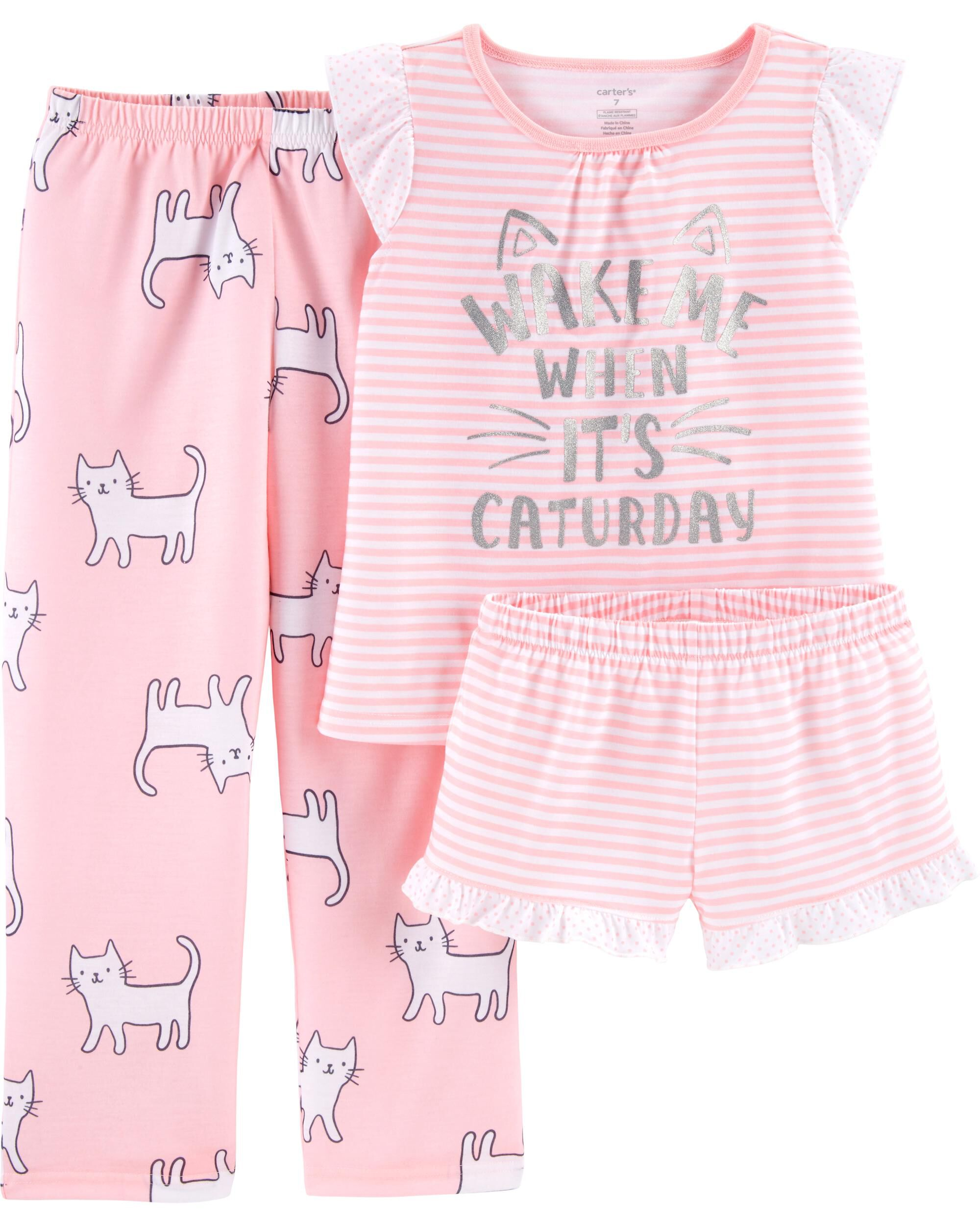 3686eb966 3-Piece Cats Poly PJs. Loading zoom