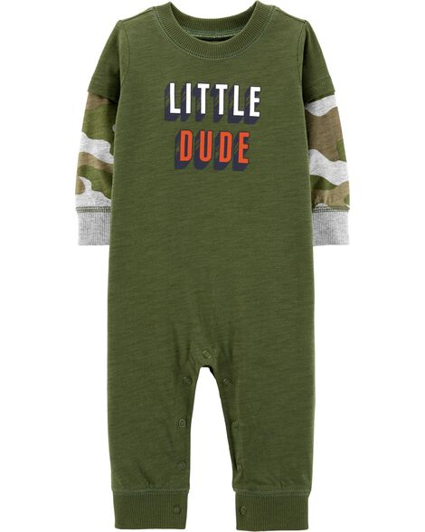 Little Dude Layered-Look Jumpsuit