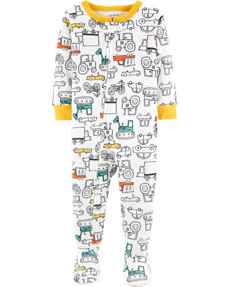 99e872fe61ab 1-Piece Cars Footed Snug Fit Cotton PJs