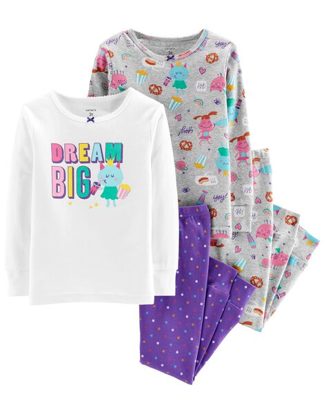 4-Piece Glitter Dream Big Snug Fit Cotton PJs