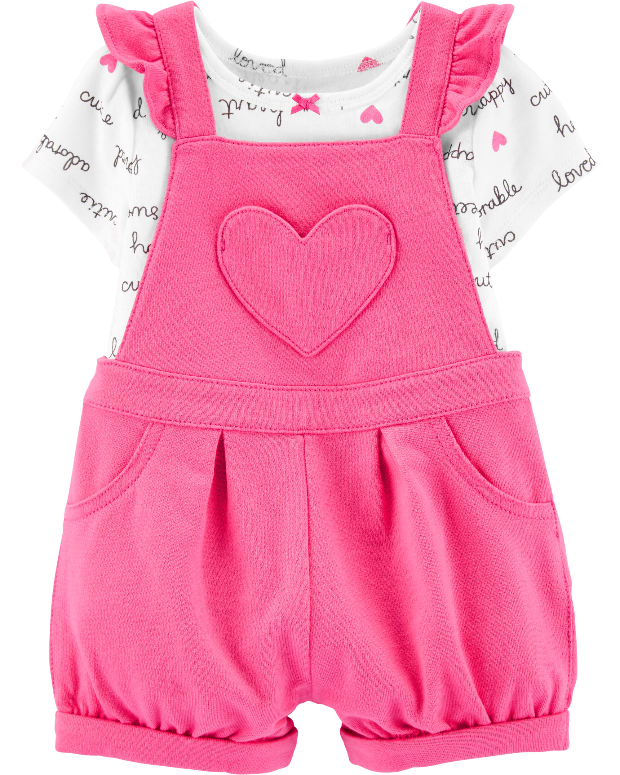 2-Piece Slogan Tee & Heart Shortalls Set