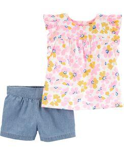 16801077f44b 2-Piece Floral Slub Jersey Top & Chambray Short Set