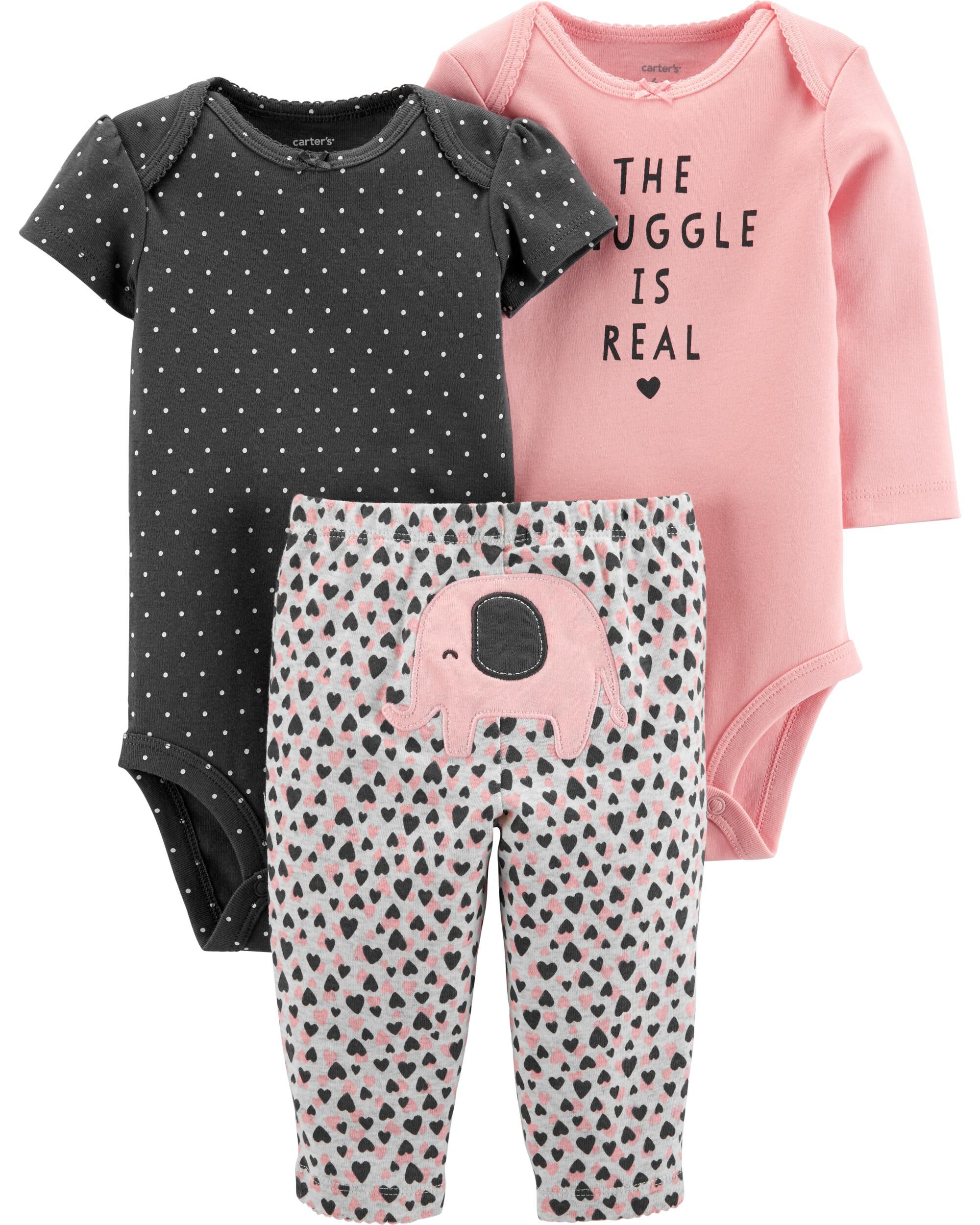 CARTER/'S 3 PIECE BABY GIRLS OUTFIT BLACK GOLD WHITE ELEPHANT TOO CUTE!!!